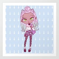 pastel goth Art Prints featuring Afro Pastel Goth  by vicococeres