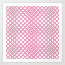 60s Ditsy Daisy Floral in Mod Pink Art Print