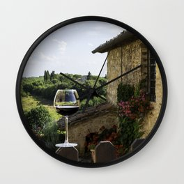 A Glass of Wine in Tuscany Wall Clock