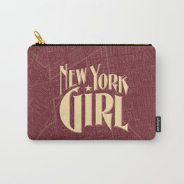 New York Girl BURGUNDY / Vintage typography redrawn and repurposed Carry-All Pouch