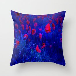 Red in Blue Throw Pillow