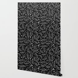 Black Feathers Pattern Wallpaper