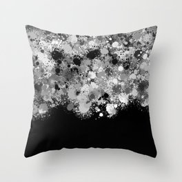 paint splatter on gradient pattern bwmwi Throw Pillow