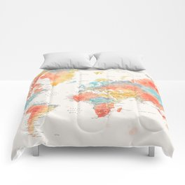 Colorful watercolor world map with cities Comforters