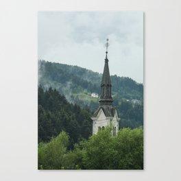 Church Steeple in the Fog Canvas Print