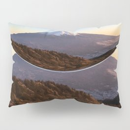 Mount Fuji Top Tip Magnifying Glass Covered Snow Pillow Sham