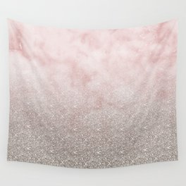 Beige glitter gradient on cotton candy clouds Wall Tapestry