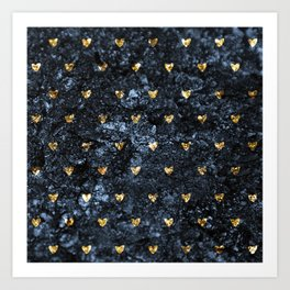 Gold Glitter Hearts on Blue-Black Scratched Suede Art Print