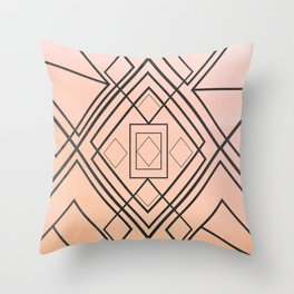 Modern coral gray watercolor ombre geometrical Throw Pillow