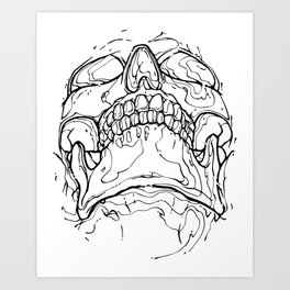 Carnibal / Ink Skull / Black Art Print