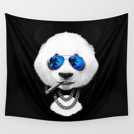 Blue Summer Panda Wall Tapestry