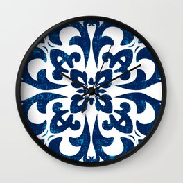 Baroque inspired ceramic style tile art Wall Clock