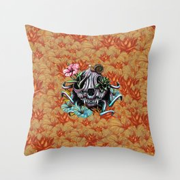 The Skull the Flowers and the Snail CoLoR Throw Pillow
