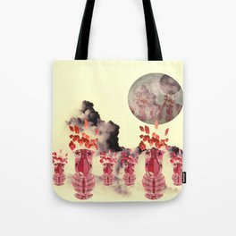 Pink Vase with Poppy Flowers Moon Tote Bag