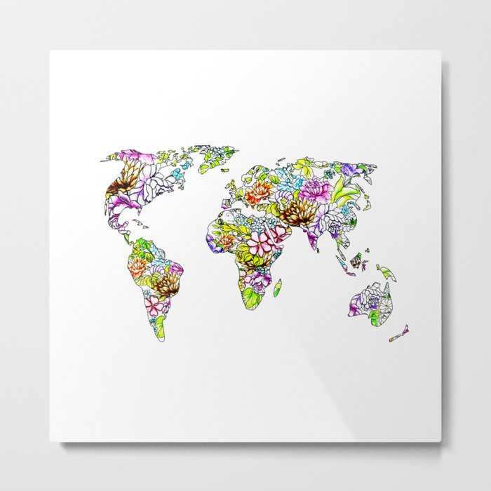 flowers in the world map . artwork Metal Print