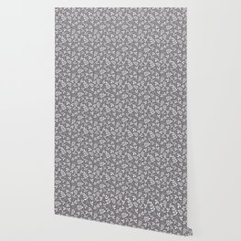 Assorted Leaf Silhouettes Cream on Grey Ptn Wallpaper