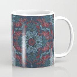 Vintage Fancy - a Pattern in Deep Teal & Red Coffee Mug