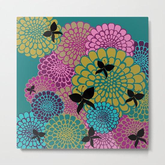 Dahlias & Butterflies Metal Print