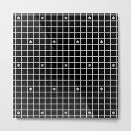 Pillow Ticking White and Black with Snowflakes Metal Print
