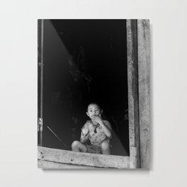 Vietnamese Boy in House Metal Print