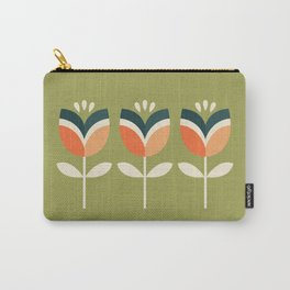 RETRO TULIP - ORANGE AND OLIVE GREEN Carry-All Pouch