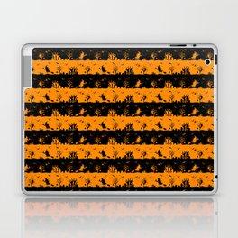 Light Pumpkin Orange and Black Halloween Nightmare Stripes Laptop & iPad Skin