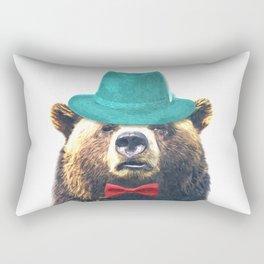Funny Bear Illustration Rectangular Pillow
