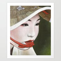 geisha Art Prints featuring Geisha by Andrea Maiorana
