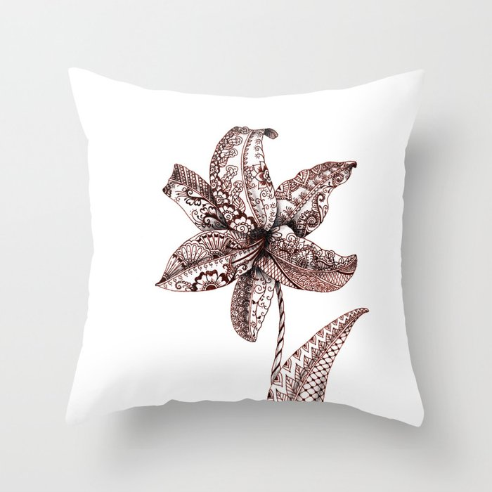 Henna Lily Throw Pillow