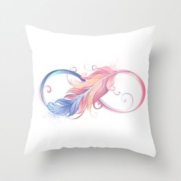 Infinity Symbol with Pink Feather Throw Pillow