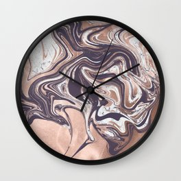 Liquid Rose Gold Violet and Marble Wall Clock