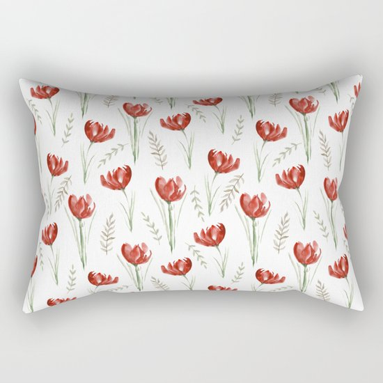 Red poppies. Watercolor Rectangular Pillow