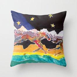 Montana Horses Throw Pillow