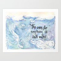 salt water Art Prints featuring Salt Water by Type Of Design