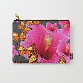 GREY GIRLY PINK HIBISCUS  MONARCH BUTTERFLIES  GARDEN Carry-All Pouch