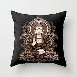 Siddhartha Gautama Buddha Wood Grain Throw Pillow