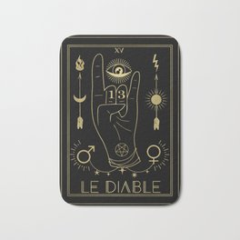 Le Diable or The Devil Tarot Gold Bath Mat