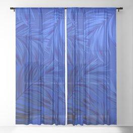Palm Tree Fronds Brilliant Blue on Blue Hawaii Tropical Décor Sheer Curtain