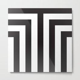Black T Stripes Metal Print