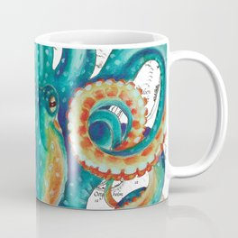 Teal Octopus Tentacles Vintage Map Nautical Coffee Mug