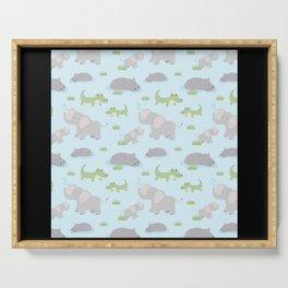 Elephant Animal Hippo Africa Safari Pattern Design Serving Tray