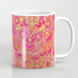 Hot Pink and Gold Baroque Floral Pattern Coffee Mug