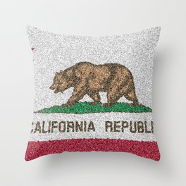 California Flag Distorted Throw Pillow
