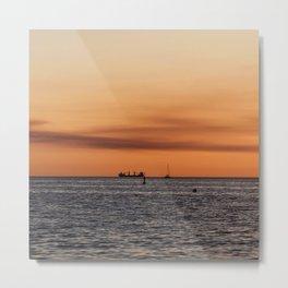 Orange Summersunset Feeling - Warnemuende - Baltic Sea Metal Print