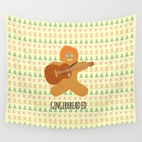 ed sheeran Wall Tapestries featuring Gingerbread Ed by Laura Maria Designs