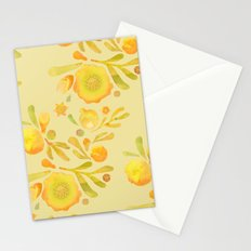 Granada Floral in Yellow Ochre on yellow Stationery Cards