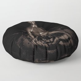 Black Queen Artistic Nude African American Woman  Rose  Floor Pillow