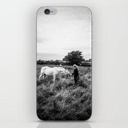 Girl with Horse in Ireland - Black and White Holga Print iPhone Skin