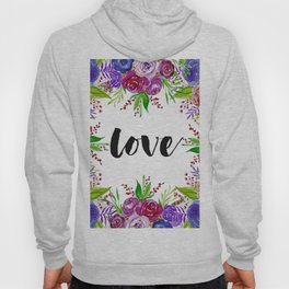Love with Floral Watercolor Hoody