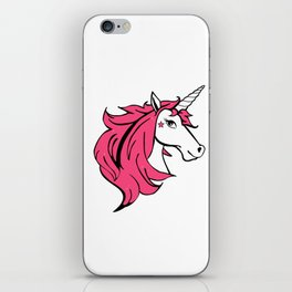 Colorful Cartoon Unicorn - Pink iPhone Skin